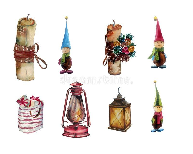 Modèle sans couture d'aquarelle tirée par la main Décorations de Noël, lanternes, cadeaux, gnomes Approprié à l'impression sur de illustration libre de droits