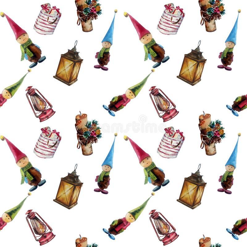 Modèle sans couture d'aquarelle tirée par la main Décorations de Noël, lanternes, cadeaux, gnomes Approprié à l'impression sur de illustration de vecteur