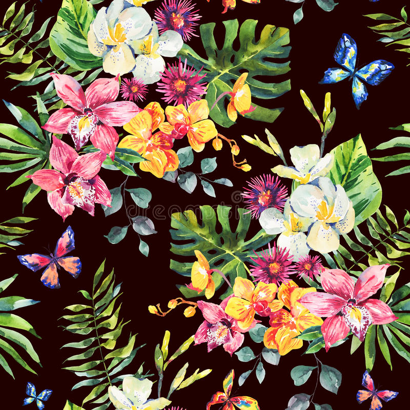 Modèle sans couture d'aquarelle tropicale d'été illustration stock