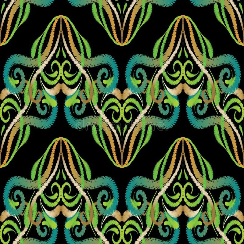 Modèle sans couture d'arabesque vert de broderie illustration libre de droits