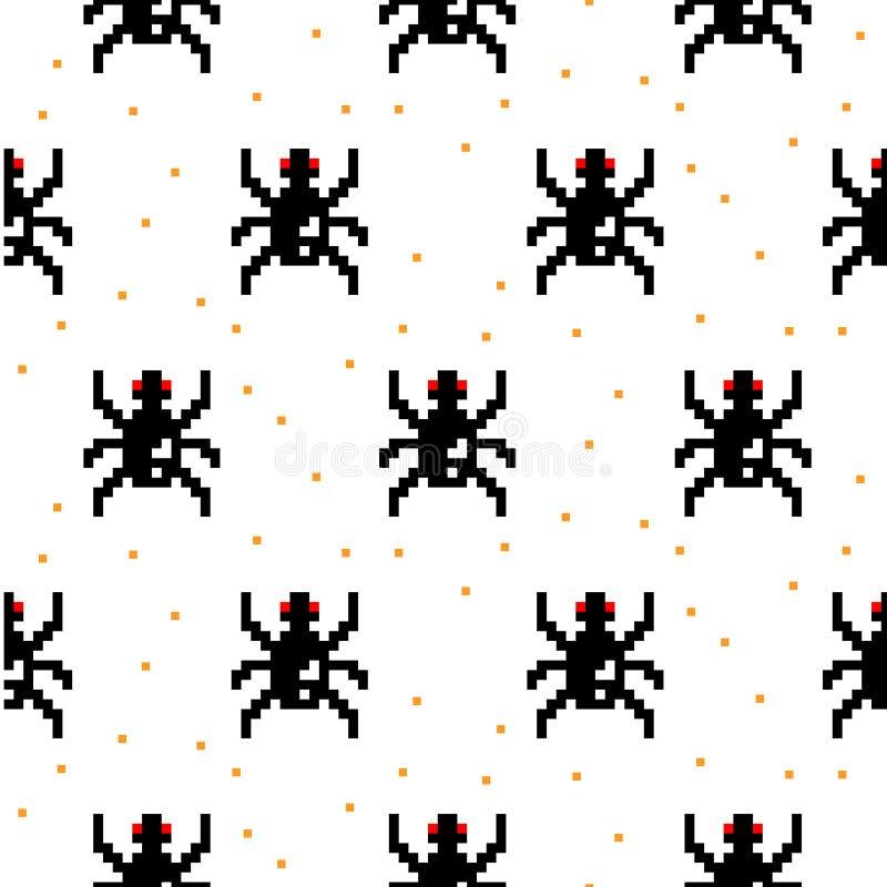 Modèle sans couture d'araignée de bande dessinée d'art noir de pixel illustration de vecteur