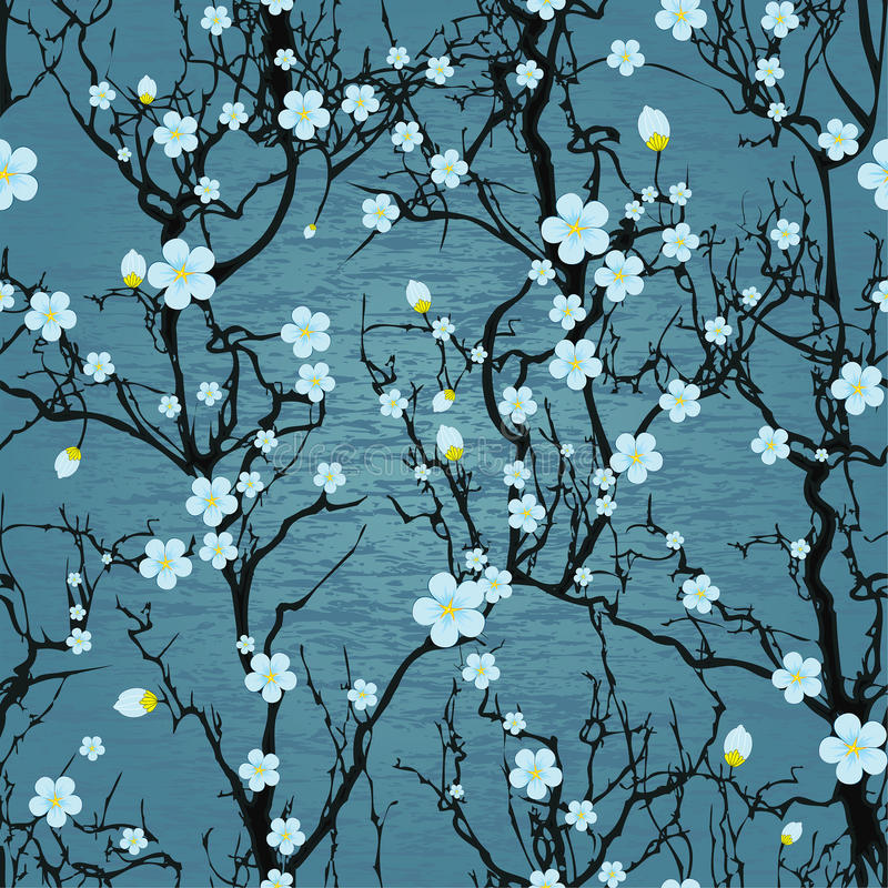 Modèle sans couture d'arbre. Fleurs de cerisier japonaises illustration stock