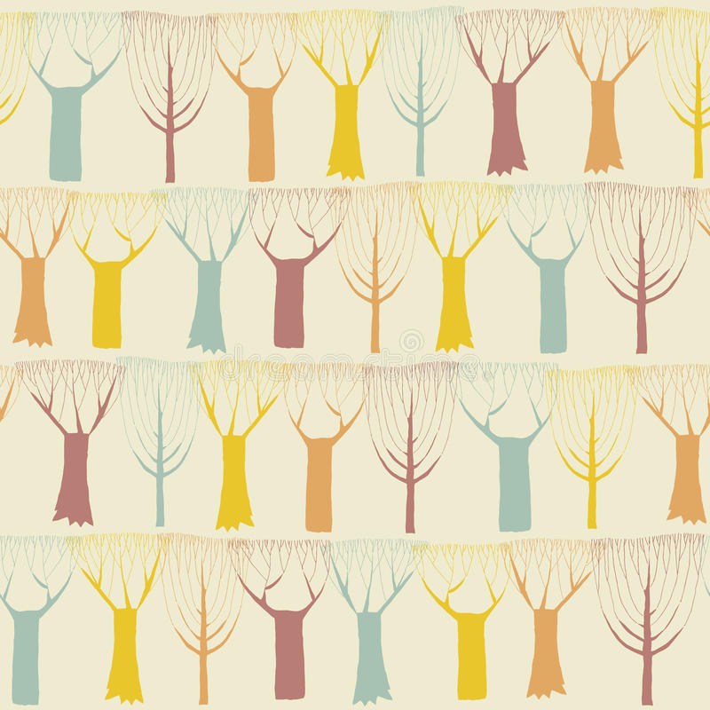 Modèle sans couture d'arbres en couleurs illustration stock