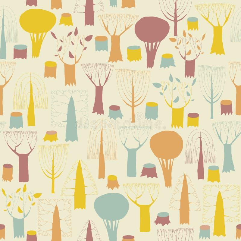 Modèle sans couture d'arbres en couleurs illustration de vecteur