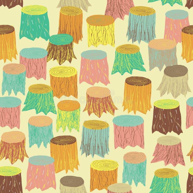 Modèle sans couture d'arbres en couleurs illustration libre de droits