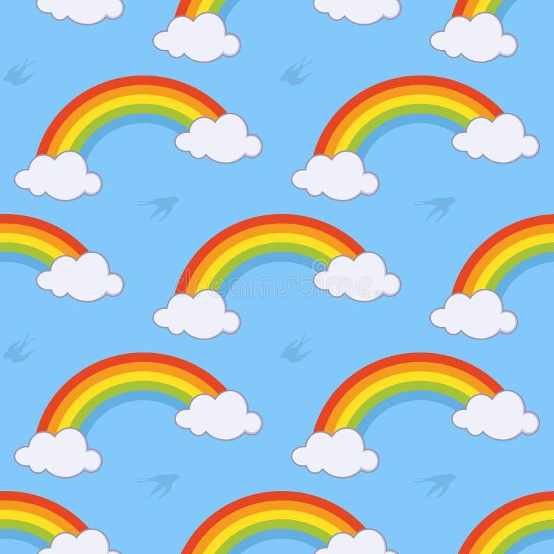 Modèle sans couture d'arc-en-ciel et de nuages illustration libre de droits