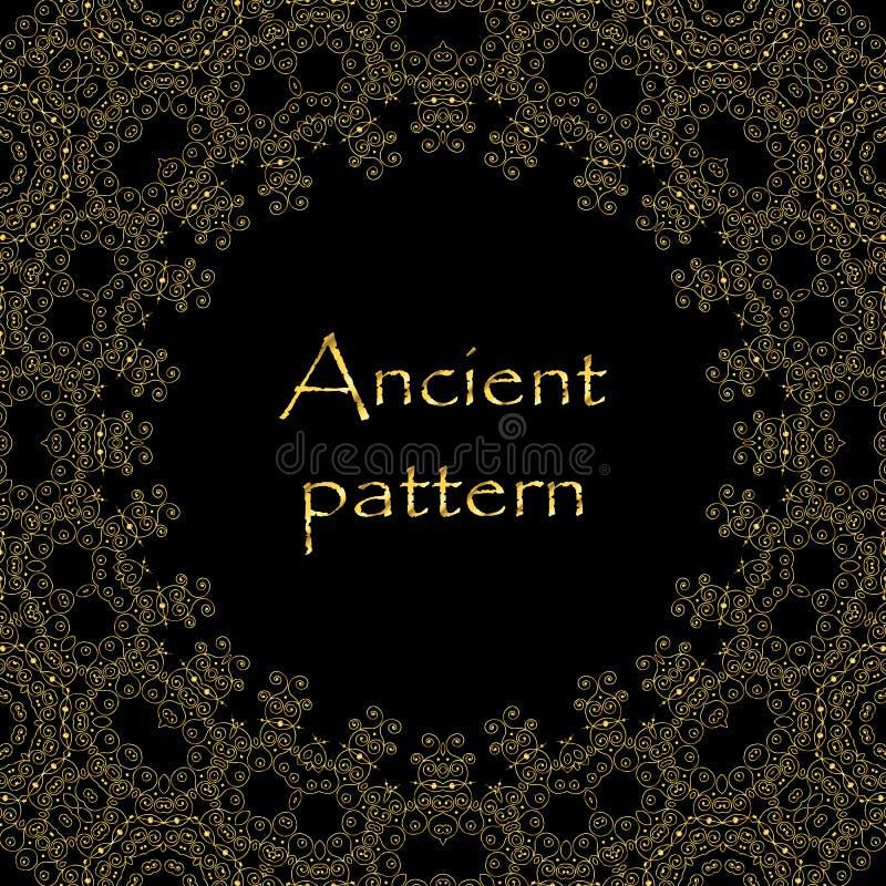 Modèle sans couture d'art déco de vecteur géométrique de résumé d'or et de losange tiré par la main noir, ornements ethniques esq illustration libre de droits