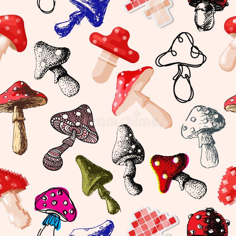Modèle sans couture d'art de champignon de champignon d'agaric de mouche d'amanite de style de conception de vecteur de chapeau r illustration de vecteur