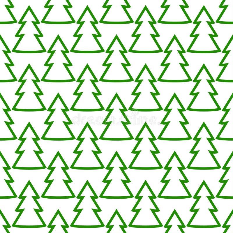 Modèle sans couture d'art de vert d'arbre de sapin de Noël illustration de vecteur