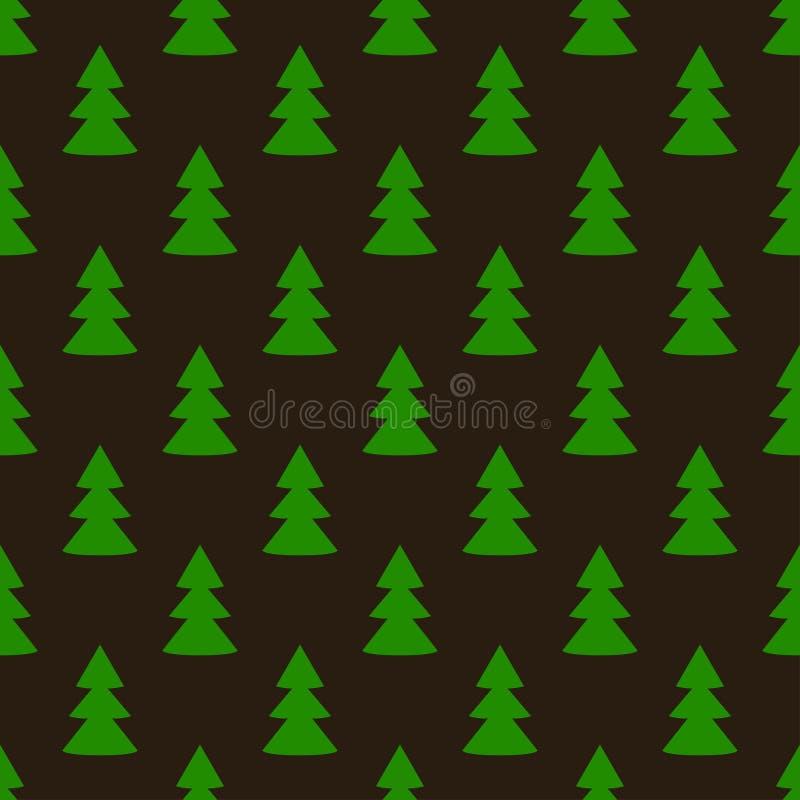 Modèle sans couture d'art foncé de vert d'arbre de sapin de Noël illustration stock