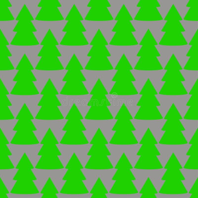 Modèle sans couture d'art gris de vert d'arbre de sapin de Noël illustration de vecteur