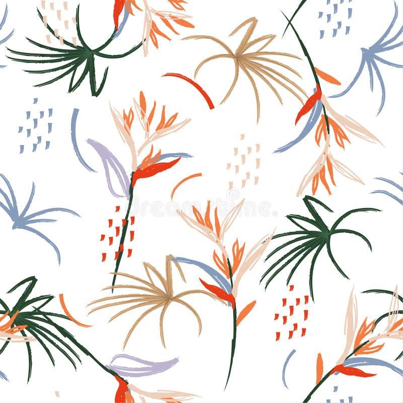 Modèle sans couture d'art d'illustration de brosse abstraite artistique tirée par la main d'aquarelle Oiseau tropical de croquis  illustration libre de droits