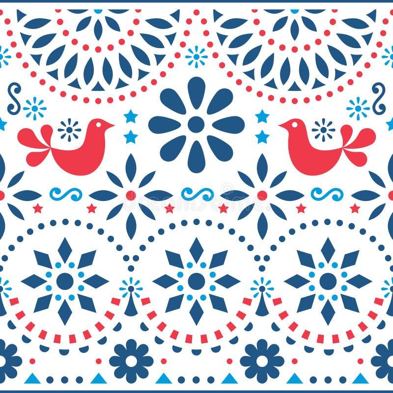 Modèle sans couture d'art populaire - les longues rayures de style mexicain conçoivent avec des oiseaux et des fleurs dans le ros illustration stock
