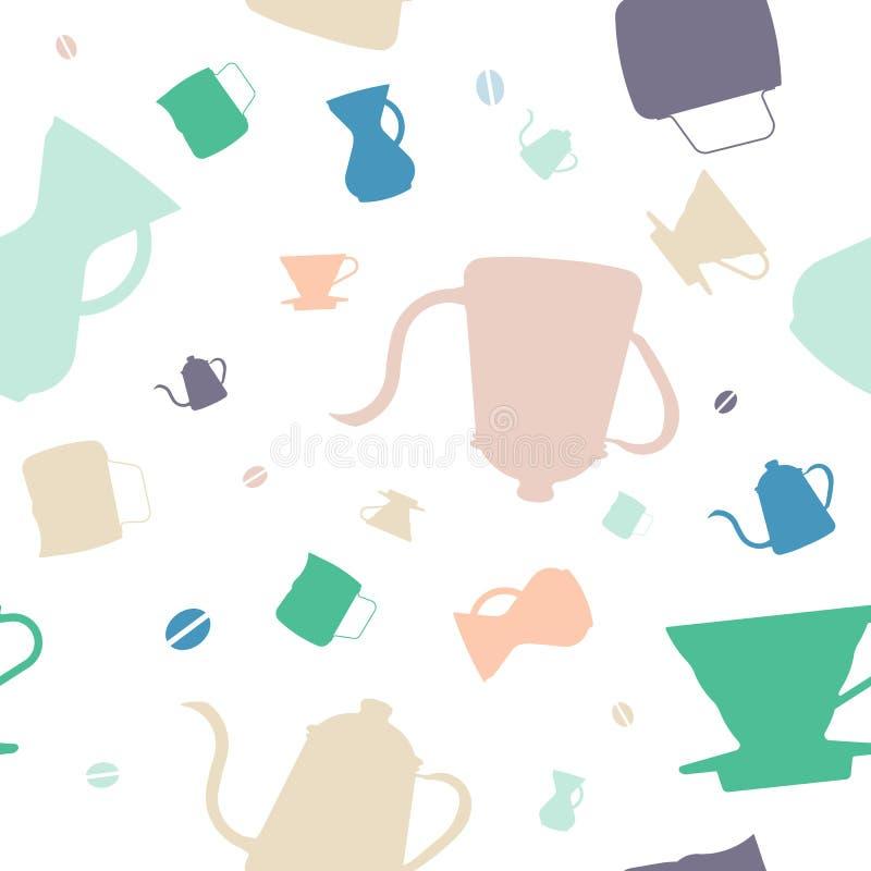 Modèle sans couture d'articles de café d'égouttement - édition multi de couleur illustration libre de droits
