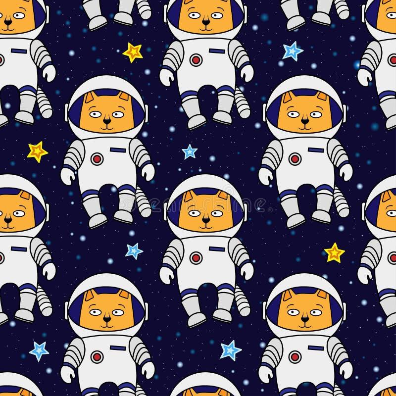 Modèle sans couture d'astronaute de chat photographie stock