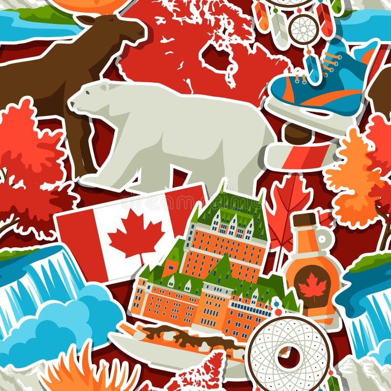 Modèle sans couture d'autocollant de Canada illustration stock