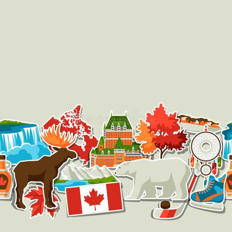Modèle sans couture d'autocollant de Canada illustration de vecteur