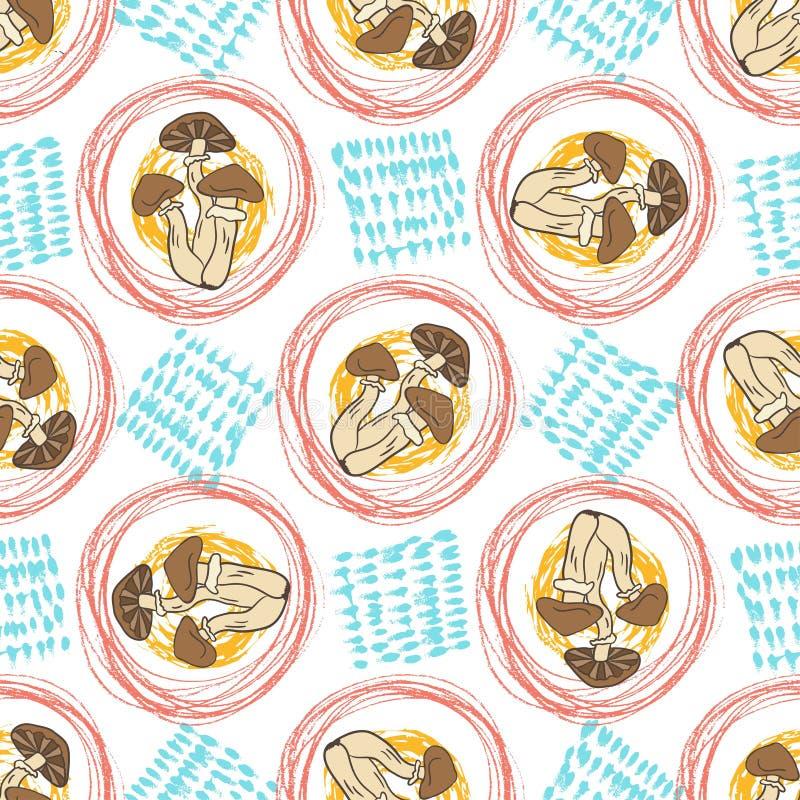 Modèle sans couture d'automne avec des champignons et des textures Fond créateur Vecteur pour le Web, copie, tissu, textile illustration de vecteur