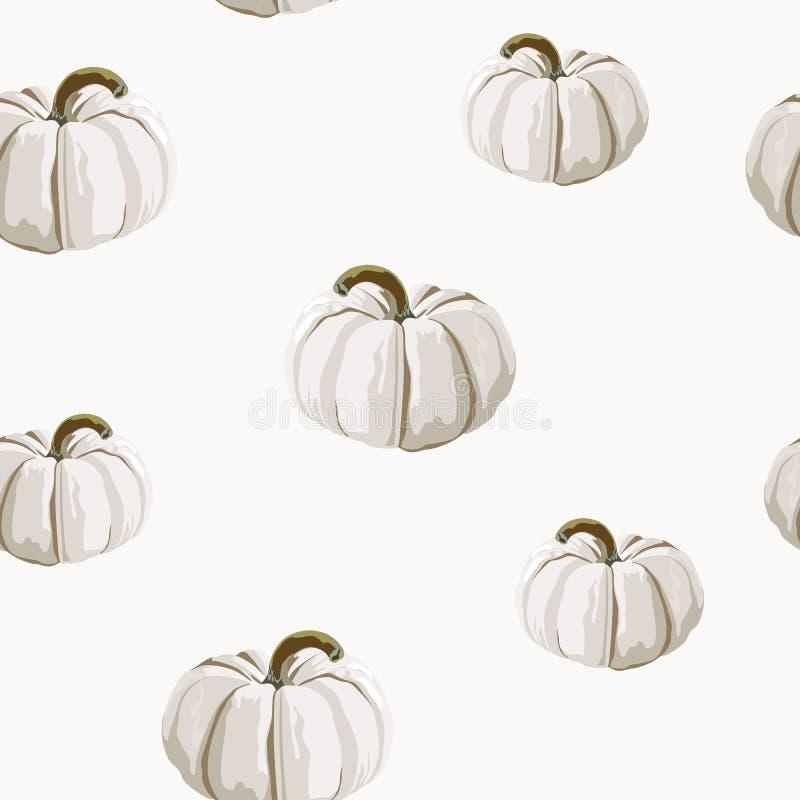 Modèle sans couture d'automne avec les potirons blancs Veille de la toussaint Illustration de vecteur illustration stock