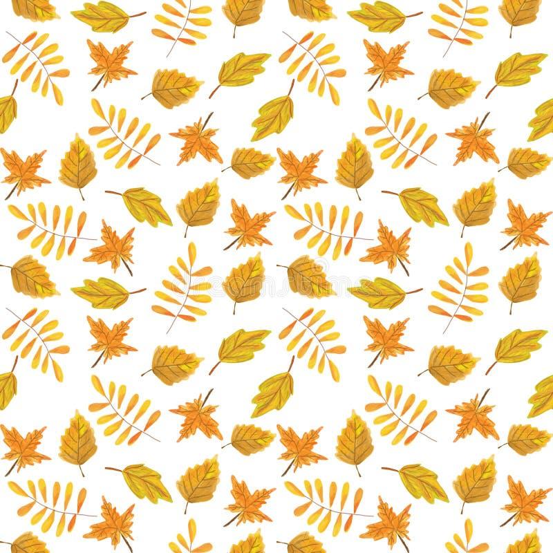 Modèle sans couture d'automne sur un fond blanc feuilles d'automne jaunes et rouges, illustration de dessin de main de trame photographie stock
