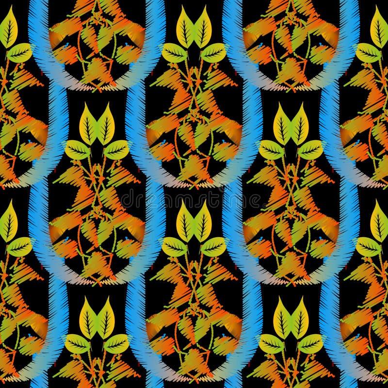 Modèle sans couture d'automne texturisé de broderie Fond ornemental de tapisserie de vecteur La sorcière grunge florale d'ornemen illustration stock
