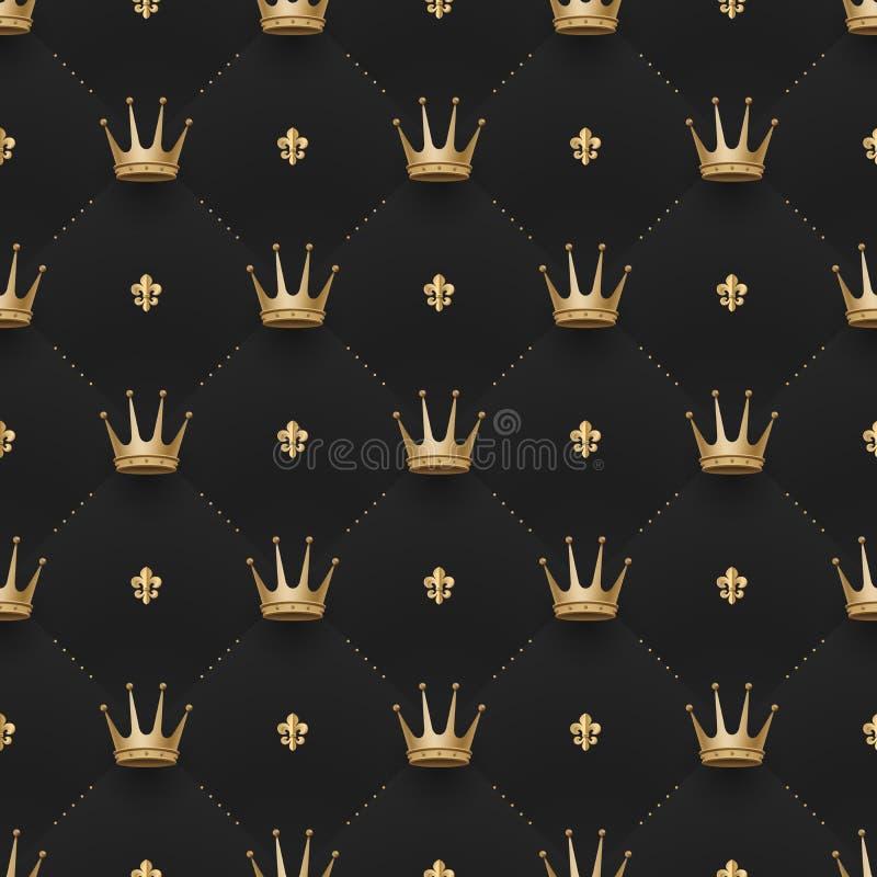 Modèle sans couture d'or avec des couronnes de roi et fleur de lis sur un fond de noir foncé Illustration de vecteur illustration stock