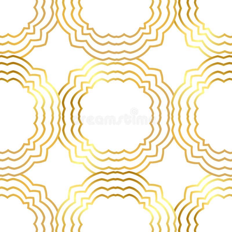 Modèle sans couture d'or avec l'ornement d'or illustration stock