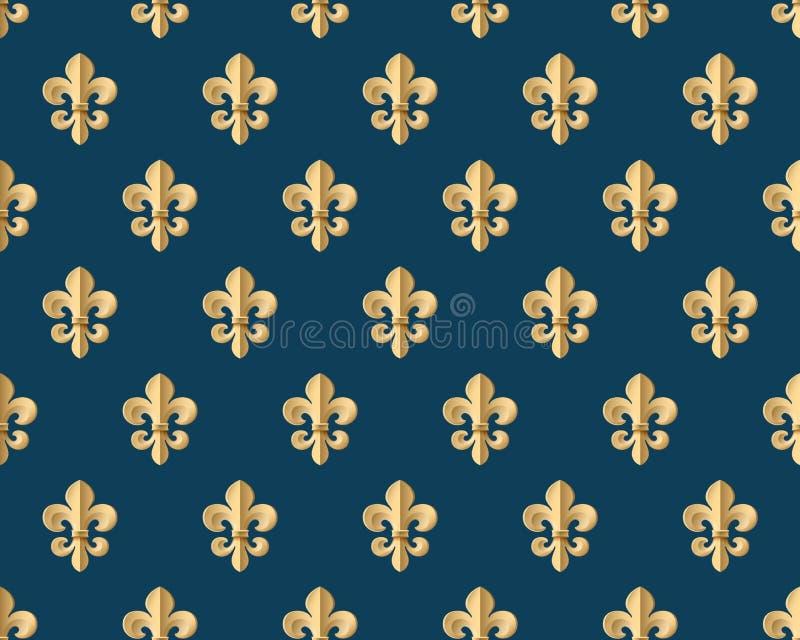 Modèle sans couture d'or avec la fleur de lis sur un fond bleu-foncé Illustration de vecteur illustration libre de droits