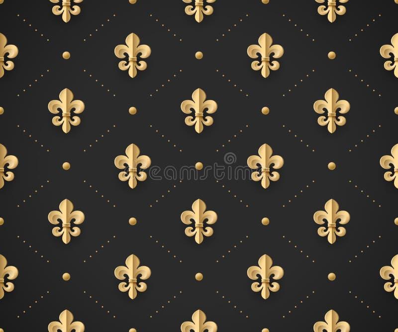 Modèle sans couture d'or avec la fleur de lis sur un fond de noir foncé Illustration de vecteur illustration stock