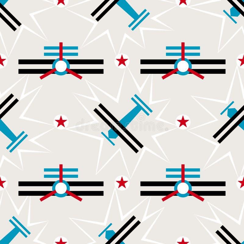 Modèle sans couture d'avion dans le style de Soviétique de constructivisme Ornement géométrique du vintage 20s de vecteur illustration de vecteur