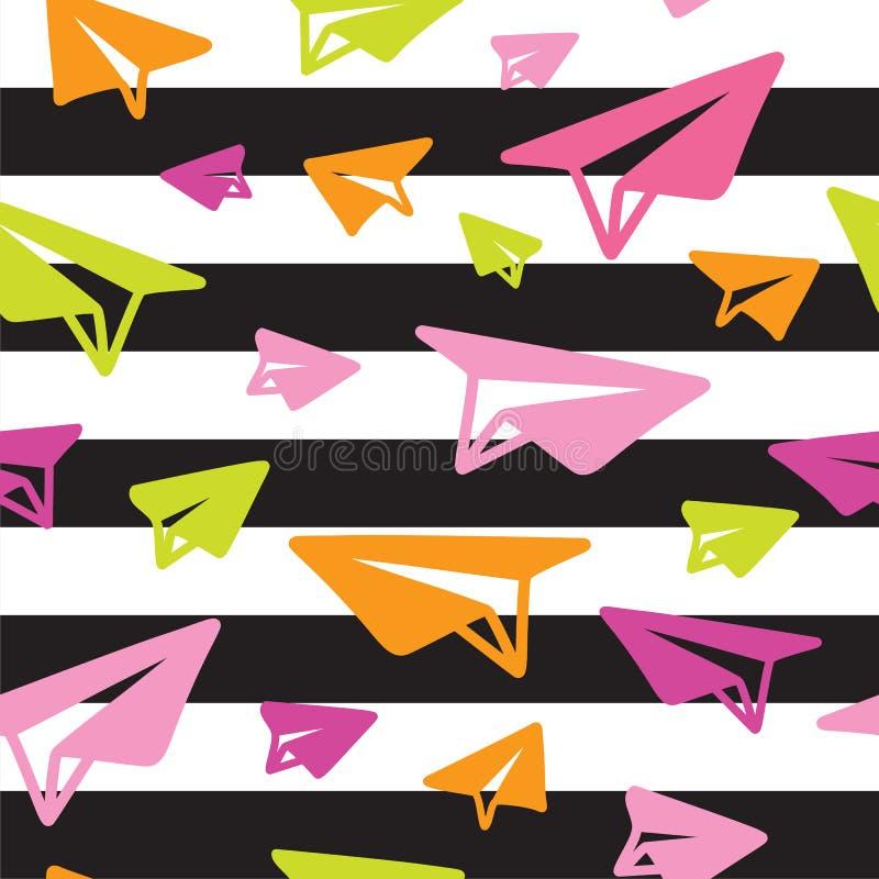 Modèle sans couture d'avions de papier lumineux d'origami sur le fond rayé noir et blanc illustration de vecteur