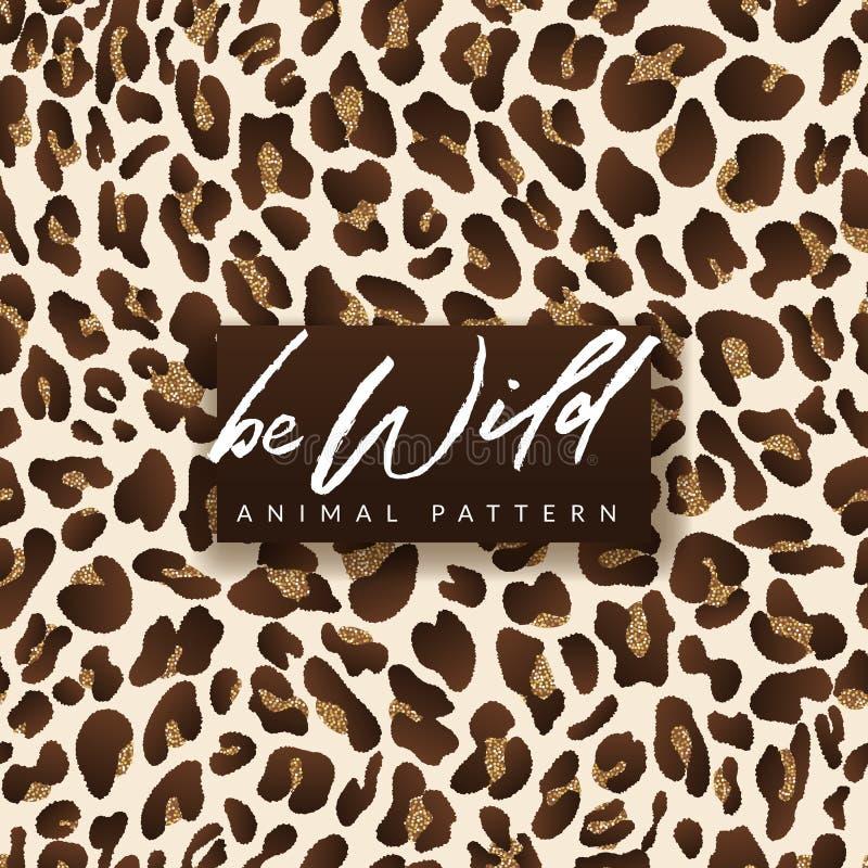 Modèle sans couture d'or de léopard Conception à la mode d'impression de textile de mode dans des couleurs brillantes d'or Fond a illustration stock