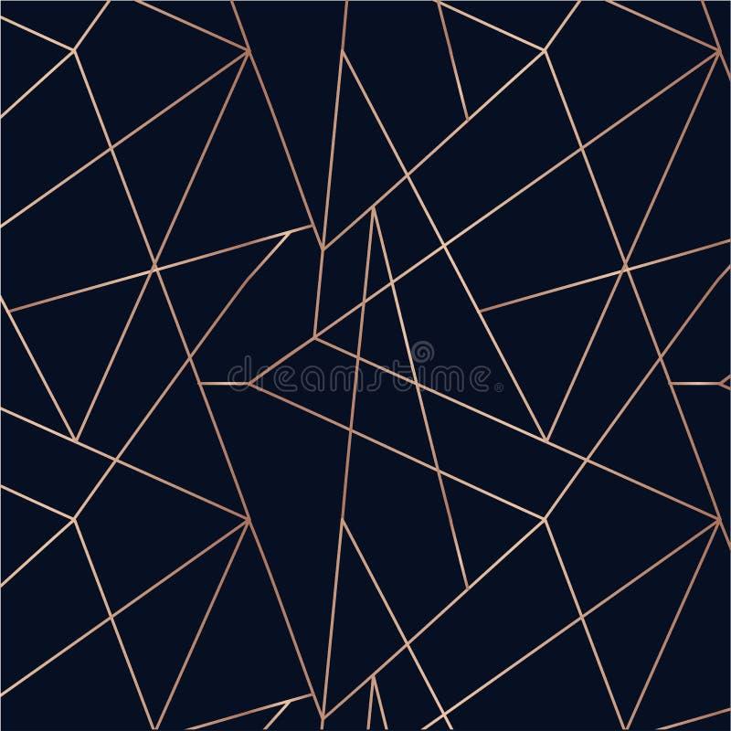 Modèle sans couture d'or de Rose Fond géométrique d'Absctract Mer illustration libre de droits