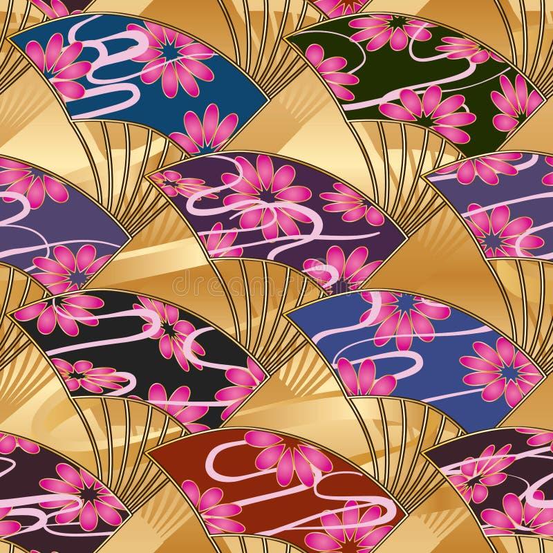 Modèle sans couture d'or de symétrie de fan du Japon grand illustration de vecteur