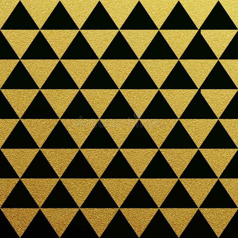 Modèle sans couture d'or des triangles sur le fond noir illustration libre de droits