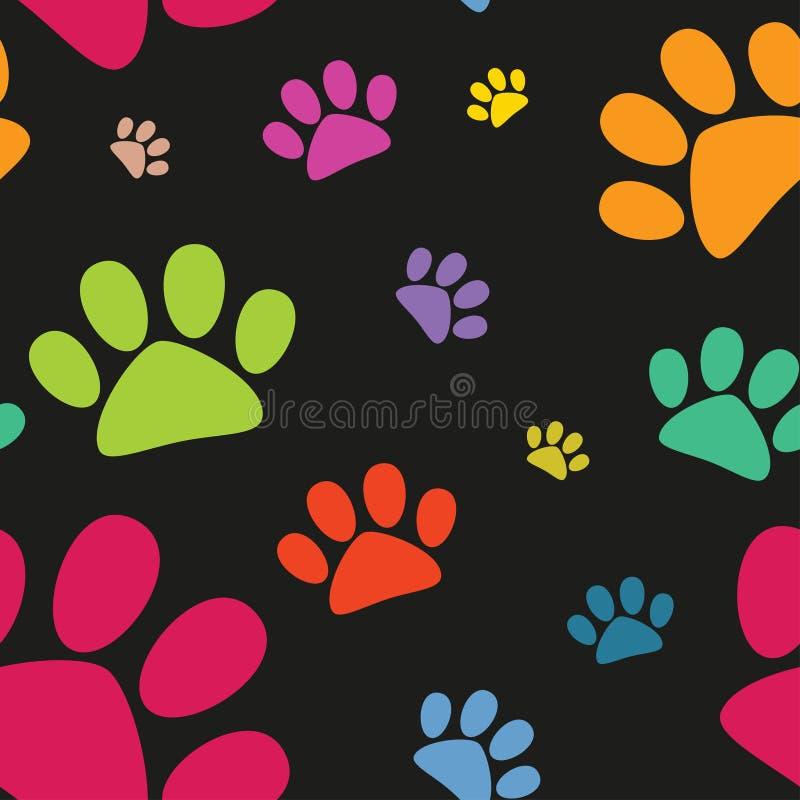 Modèle sans couture d'empreinte de pas animale drôle, patte de chat, vecteur illustration de vecteur