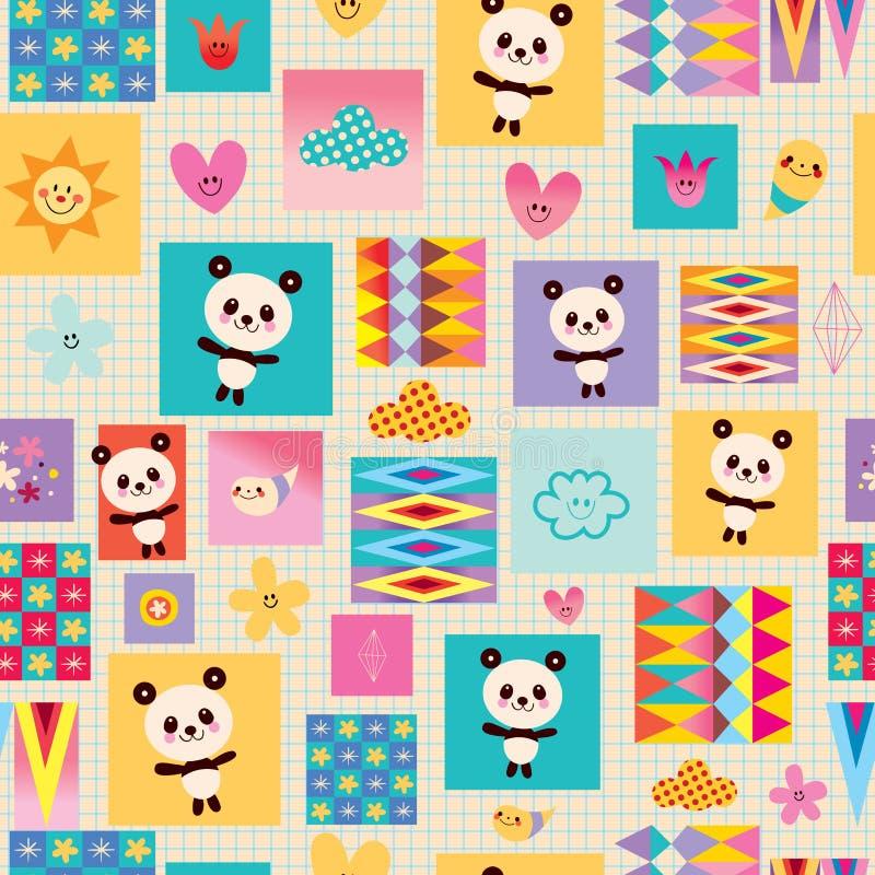 Modèle sans couture d'enfants d'ours panda illustration libre de droits