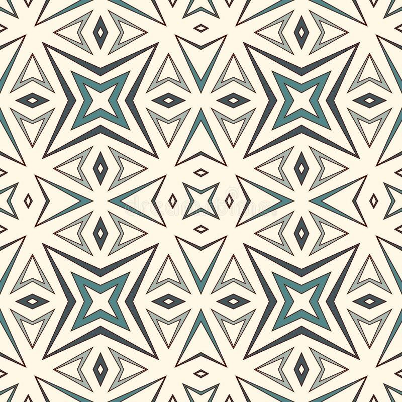 Modèle sans couture d'ensemble avec les chiffres géométriques Fond abstrait répété d'étoiles stylisées Motif ethnique et tribal illustration stock