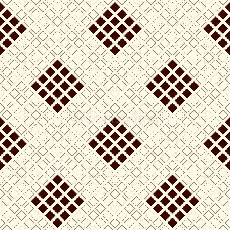 Modèle sans couture d'ensemble avec les chiffres géométriques Places répétées et fond abstrait ornemental de losanges illustration de vecteur