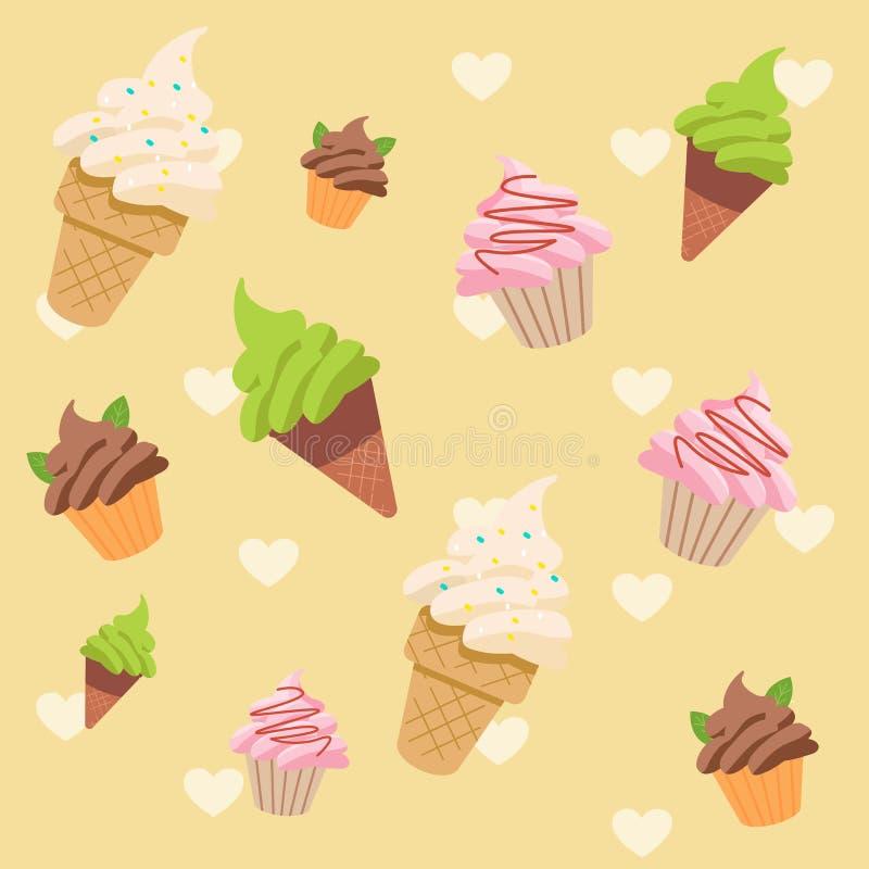 Modèle sans couture d'ensemble de crème glacée  cornet de crème glacée de vanille, de thé vert, de chocolat et de fraise sabot bl illustration de vecteur