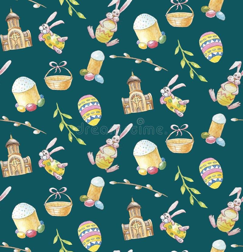 Modèle sans couture d'ensemble heureux de Pâques sur le fond vert avec l'église, la branche, le lapin, le gâteau et les oeufs illustration stock
