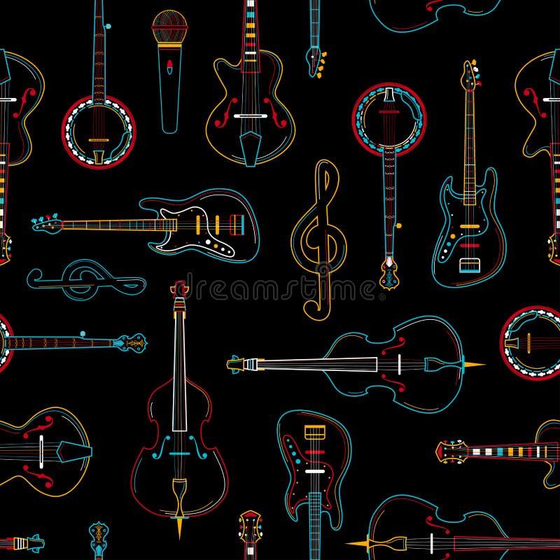 Modèle sans couture d'ensemble tiré par la main musical d'équipement illustration libre de droits