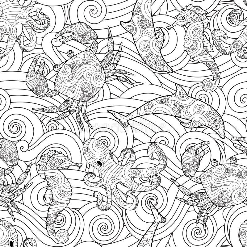 Modèle sans couture d'ensemble tiré par la main serein avec des vagues, animaux de mer - dauphin, hippocampe, crabe, poulpe d'iso illustration libre de droits