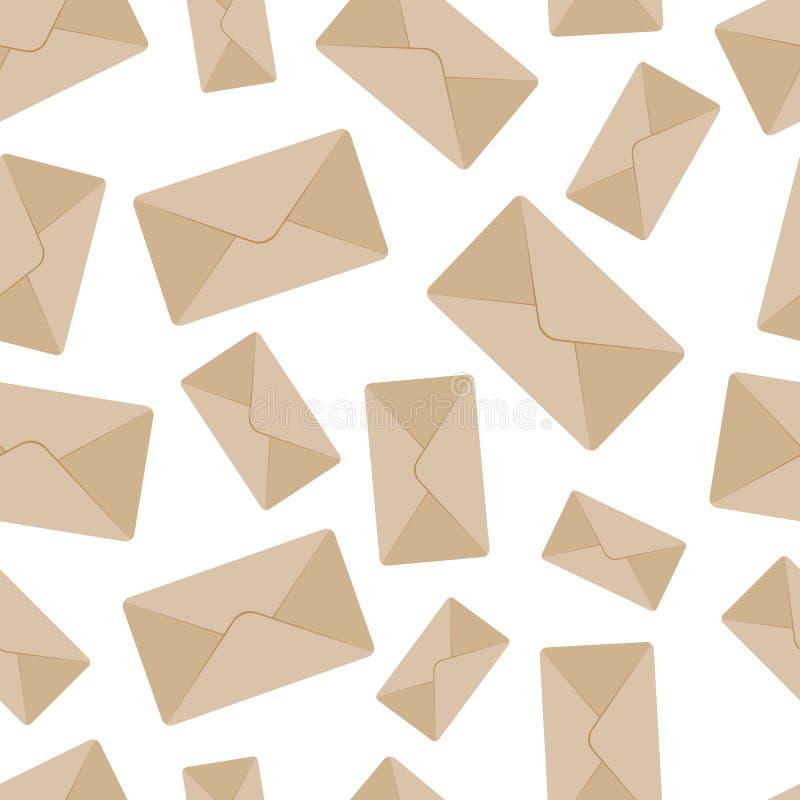 Modèle sans couture d'enveloppe illustration stock