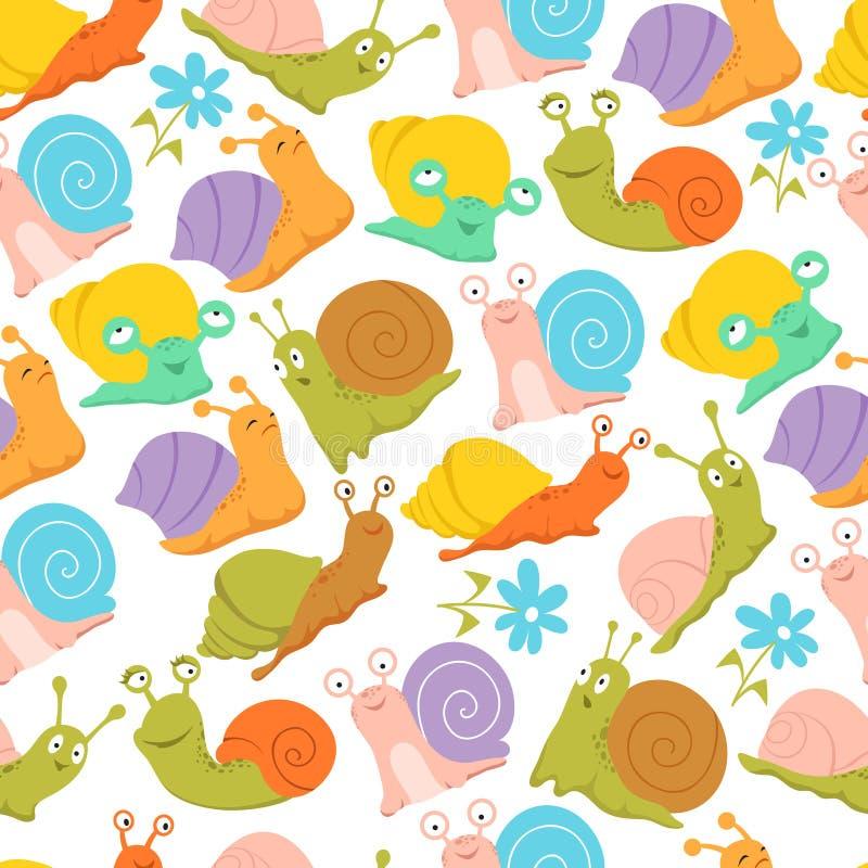 Modèle sans couture d'escargot Façonnez à des enfants la texture sans fin de vecteur pour le tissu et l'emballage illustration de vecteur
