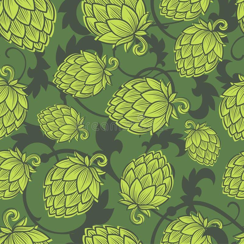 Modèle sans couture d'espoir Fond de houblon en cônes Papier peint de bière de métier illustration libre de droits