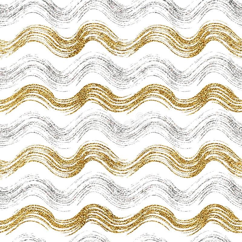 Modèle sans couture d'or et des rayures onduleuses argentées image stock
