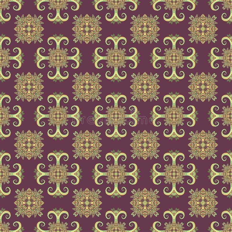 Modèle sans couture d'Ethno Ornement de Boho Éléments décoratifs de cru Copie tribale d'art, fond qu'on peut répéter Usine floral illustration stock