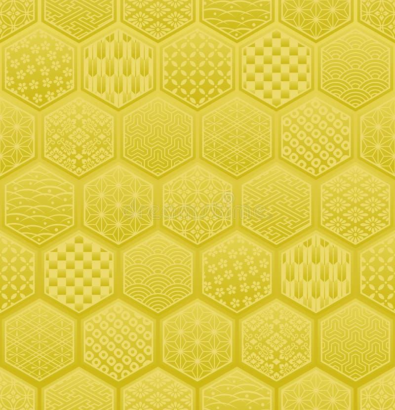 Modèle sans couture d'hexagone avec la conception traditionnelle japonaise illustration stock