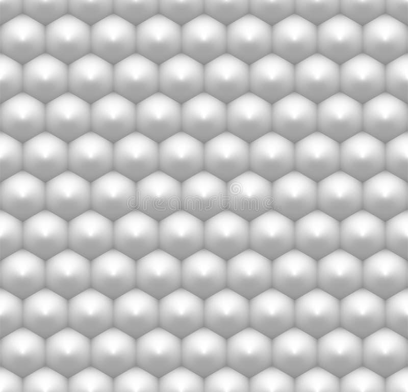 Modèle sans couture d'hexagone blanc minimaliste, nid d'abeilles abstrait 3D illustration stock